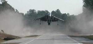 Jenna Dolan landing the AV-8B on Lyman Road in North Carolina