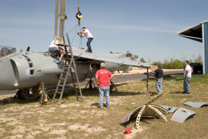 After arriving at Capt. W.F. Duke Regional Airport in Leonardtown, MD, the Sea Harrier is removed from the shipping trailer and the wing is partly attached. 2006