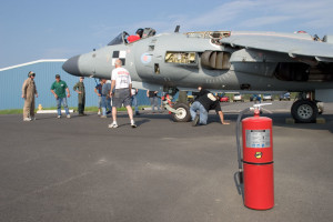 As Art Nalls sits in the cockpit, the crew working on his FA2 Sea Harrier try to find out why the engine start sequence wont initiate during the first attempt to start the engine in the US Leonardtown, MD 2006