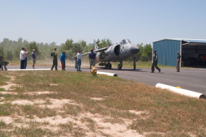 With Art Nalls in the cockpit of his FA2 Sea Harrier, the aircraft taxies for the first time in the US. Nalls took the aircraft down to the main runway for a series of acceleration tests on the engine before taxing back to his hanger where he was mobbed by crew and onlookers. Leonardtown, MD 2006