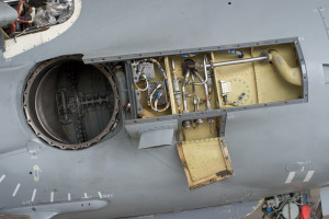 Side view of Art Nall's FA-2 Sea Harrier with inspection panels and front nozzle removed. 2006