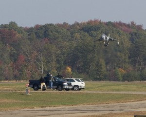 Art Nalls flies his FA2 Sea Harrier during its first flight since arriving in the United States. Nalls returns to the where he took off at the St. Mary's County Regional airport. Nov 10, 2007 Leonardtown, MD 2007
