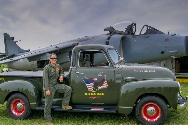 Jenna Dolan and a pristine Chevy pickup, dedicated to Marines