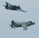 Wildcat leads the Sea Harrier in a formation flyby